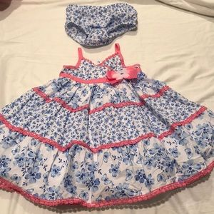 Bright blue white pink mixed floral dress worn 1x